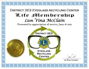 Life Membership Vina McClain